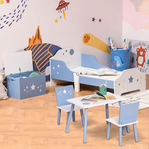 Kids Furniture Set w/ Beds, Chair & Table Set, Storage Chest Blue