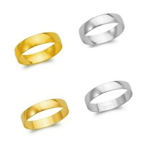 Wedding Band Plain Ring Men Women 14K Yellow White Solid Gold 4-5mm Size 5-11