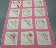 "Old Vintage Hand Stitched Pink & White Basket Patch Quilt 84"" X 66"""