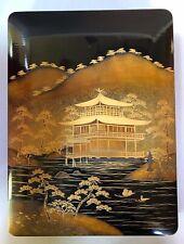 Antique JAPANESE BLACK LACQUERWARE BOX Lidded KINKAKUJI Temple GOLDEN PAVILION