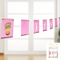 IT'S A GIRL BUNTING PINK HANGING DECORATION PARTY SUPPLIES