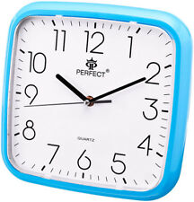 Square Wall Clock - PERFECT - Blue Case , Easy-to-read Dial