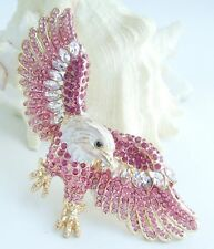 Unique Animal Bird Eagle Brooch Pin Pink Rhinestone Crystal Pendant EE04717C6