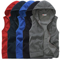 Mens Casual Sleeveless Zip Hooded Sweatshirt Sport Hoodies Vest Coat Waistcoat