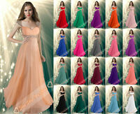Long Evening Bridesmaid Party Ball Gown Prom Formal Chiffon Dress Cocktail 6-26