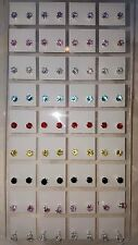 Joblot 36 Pairs 4 mm Cubic Zarconia mixed colour Round stud Earrings wholesale