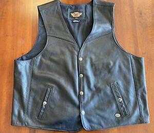 Excellent Condition USA Harley-Davidson Men's Black Leather Motorcycle Vest XXXL