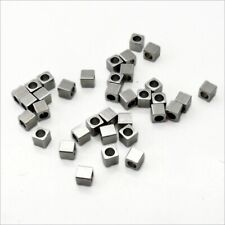 50 x Small Stainless Steel 3mm Square Cube Spacer Beads - Solid & Drilled