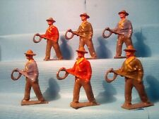 Britains Cowboys With Lassos , Lead Toy Soldiers X6 , Kn,Ld2 *U.K.Only