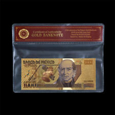 WR Mexico 1000 Pesos Bill Note Currency 24K Gold Foil Plated Banknote Collection