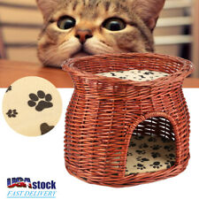 Puppy Cat Bed Kitty Pet Dog Sleeping House with 2x Soft Cushion Brown Wicker
