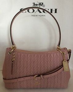 COACH F76721 Quilted Leather Small Mia Shoulder Bag Handbag IM/Pink Petal NWT