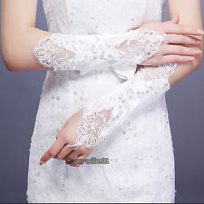 NEW Bride Wedding Party Pearl Lace Satin Bridal Gloves Costume Dress Fingerless