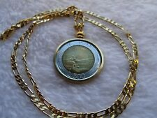 "1984 Italian 500 Lire Golden Brass Pendant on a 24"" Gold Plated 3 & 2 Link Chain"