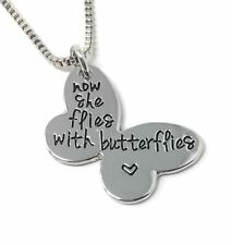 925 Silver Plt 'now She Flies With Butterflies' Engraved Butterfly Pendant a Necklace