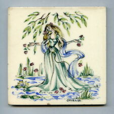 """Hand painted 4""""sq Shakespeare tile by Packard & Ord, 1953"""