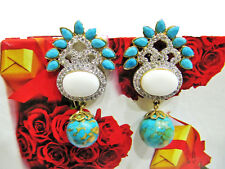 Earrings Cz Zircon Jewelry Gold Plated Turquoise & White Agate Gemstone Stud
