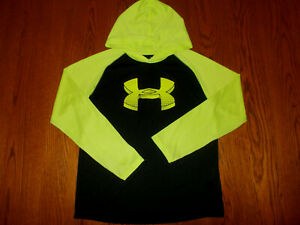 UNDER ARMOUR LONG SLEEVE BLACK & GREEN LIGHTWEIGHT HOODIE BOYS LARGE EXCELLENT