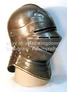Medieval 16 Gauge Steel Gothic Armor Helmet