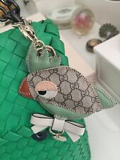 Authentic Gucci GG Logo Leather Bird Key Ring For Bag Made In Italy RRP$550