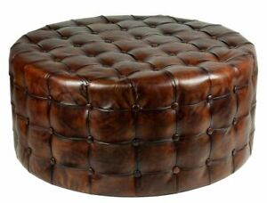 """36"""" Round Ottoman Top Grain Tufted Buttery Leather Vintage Brown Stunning NEW"""