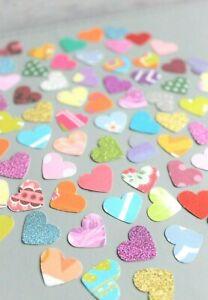 100 x HEARTS SMALL PAPER CARD MAKING CRAFT EMBELLISHMENTS SCRAPBOOK MEGA PACK