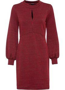 Jacquard Kleid Glitzer Gr. 48 50 rot schwarz langarm Minikleid blickdicht neu