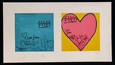 """Coldplay Signed Ltd Edition Print 6/10 """"Blue Square Pink Heart"""" With COA"""