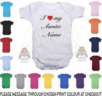 Baby Vest Personalised I Love My Auntie NAME bodysuit