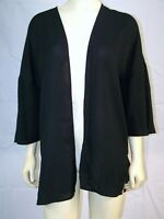 New Women's Hippie Rose Black Lace Back 3/4 Sleeve Over Coat Jacket Sz Small