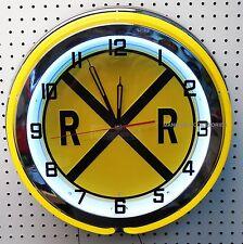 "18"" RAILROAD Crossing Double Neon Clock Rail Road"