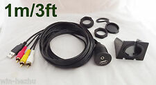 3ft Car Dashboard Flush Mount 3.5mm to Male 3RCA USB Extension Audio&Video Cable
