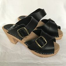 NWOT ~ FUNKIS SWEDISH CLOGS two buckle high sandal BLACK RRP $149 size 35