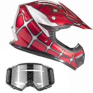 Youth Red Spiderman Motocross Helmet Goggles Kids Combo DOT ATV UTV