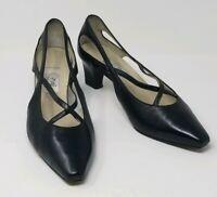 Omari Women's Italian Leather T Strap Pumps - Size 38 - 7.5 Black