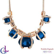 Collana donna oro cristalli Swarovski Elements originale collier zaffiro regalo
