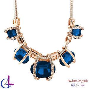 Collana donna oro cristalli Swarovski Elements originale collier turchese regalo