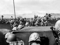 OLD LARGE MILITARY PHOTO, WWII Battle Iwo Jima, 4th Div. Marines beach launch