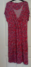 Sandwich Ladies Red Floral Jersey Short Sleeve Dress UK Size 12 Lined Summer
