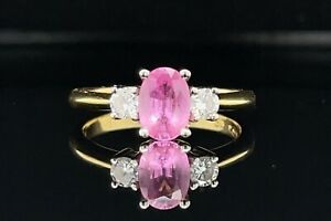 Pink Sapphire and Diamond Trilogy Ring 18ct Gold