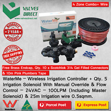 """WaterMe-WiFi Irrigation Controller+4 Zone Solenoids Combo+Qty1x1""""Master Solenoid"""