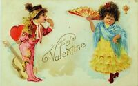 C.1910 Embossed Valentine's Postcard Cute Spanish Children Matador & Dancer P77
