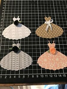 "Scrapbooking Die cut Dress With Rosette Shape "" X 4 Bundle 3"