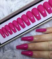 Bubblegum Pink False Fake Ballerina Nails Set