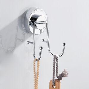 Bathroom Vacuum Shower Suction CupTowel Double Hook Hanger Window Wall Kitchen
