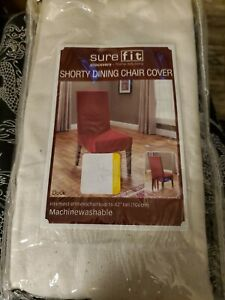"""Dining Room Chair Cover Duck Solid Natural Sure Fit armless up to 42"""" tall"""