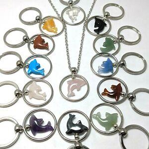 Pack of 5 Gemstone Dolphin Keyrings / Pendant NEW WHOLESALE Genuine Amethyst etc