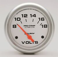 "Auto Meter Ultra-Lite Electric Voltmeter Gauge 2-5/8"" (67mm) 8 - 18 Volts"