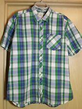 Tom Tailor 2XL XXL Plaid Shirt Green Blue Short Sleeve