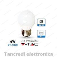 Lampadina led V-TAC 4W = 30W E27 bianco naturale 4500K VT-1830 minigolobo G45